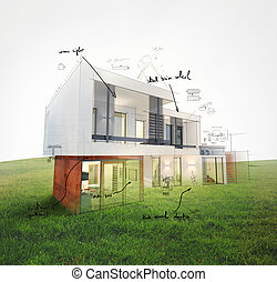 Home project on lawn 3d rendering - Project of a house on a...
