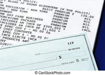 Home property insurance policy and personal check