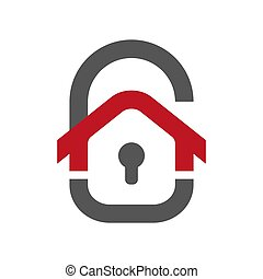 Home protection icon. House in the form of a door lock. Protection vector icon for web design isolated on white background. Home guard concept. EPS 10