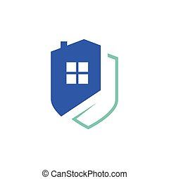 home protection security logo design vector. house with shield template illustration