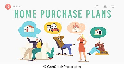 Home Purchase Plans Landing Page Template. Characters Dream of House. Diverse People Businessman, Bum Imagine House