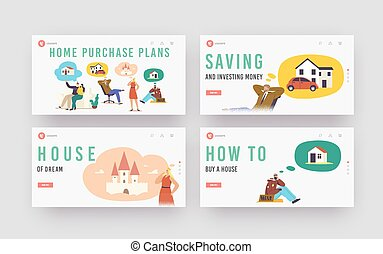 Home Purchase Plans Landing Page Template Set. Characters Dream of House. People Businessman, Bum, Married Couple