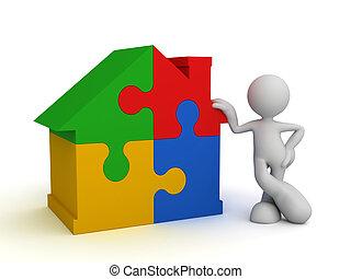 home puzzle  3d illustration