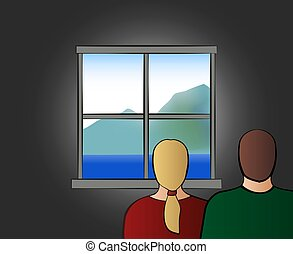 Home quarantine. Confined couple at home looking out of the window. Vector illustration on white background.