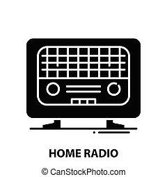 home radio icon, black vector sign with editable strokes, concept illustration