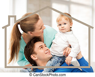 family with child and dream house
