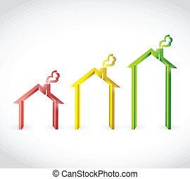 home real estate graph illustration design