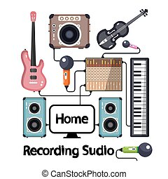 Home Recording Studio with Musical Instruments Plugged