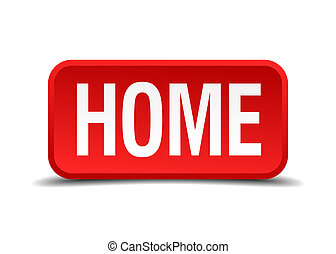 Home red 3d square button on white background