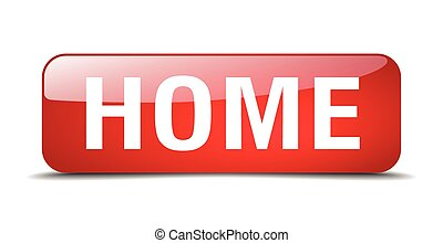 home red square 3d realistic isolated web button