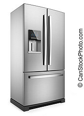 Home refrigerator. Silver home fridge isolated on white...