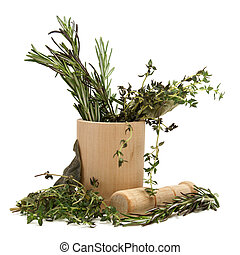 Home Remedy - Grinding together several herbs in a mortar...