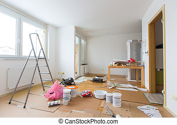 home renovation - Home renovation in room full of painting ...