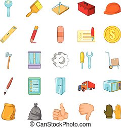 Home renovation icons set, cartoon style