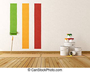 Home renovation - select color swatch to paint wall -...