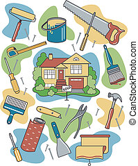 Vector illustration of household tools surrounding a newly-sold renovated home.