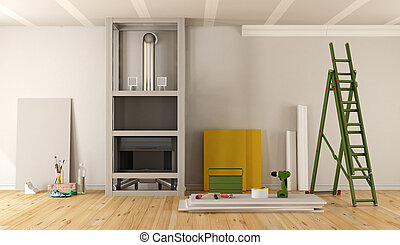 Home renovation with fireplace covered with plasterboard - ...