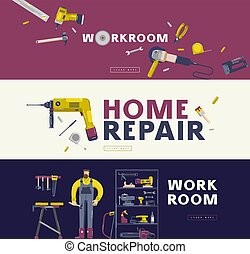 Home repair and workshop banners set