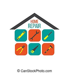 Home repair concept with tools