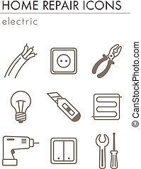 Home repair, electric icons