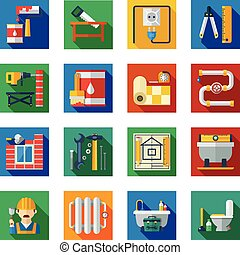Home repair refurnishing and innovation service tools and utensils flat colorful square icons collection abstract vector isolated illustration