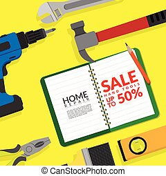 home repair hand tools set isolated on yellow background with blank white paper with text hand tools sale discount up to 50% for hardware store discount promotion and marketing