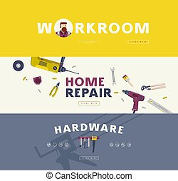 Home repair, hardware and workroom banners set. Design in ...