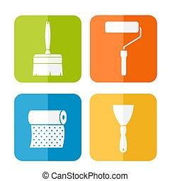 Home repair icons, flat design
