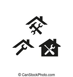 Home repair icons on white background.