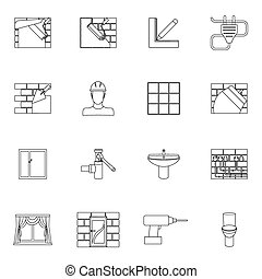 Home repair icons outline