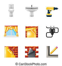 Home repair icons realistic