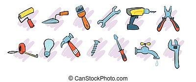Home repair instrument icons