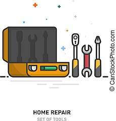 Home repair logo. A set of tools in a case. Linear design. Vector illustration.