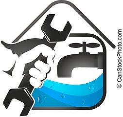 Home repair plumbing - Spanner in hand for plumbing repair