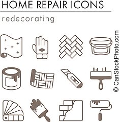 Home repair, remodelling, redecoration icon set