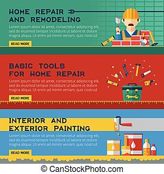 Home Repair Service Flat Banners Ser