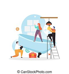 Home repair services vector concept for web banner, website ...
