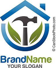 home repair services Vector illustration. with hammer and green leaf