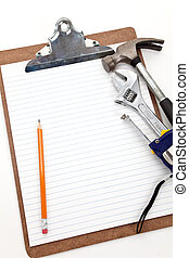Home Repairing plan - Work Tools and Clipboard, Concept of...