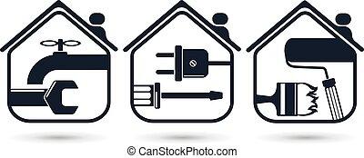 home repairs symbols for home renovation repair tools