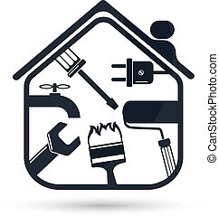 Home repairs flat - Sign for the repair of the house with a...