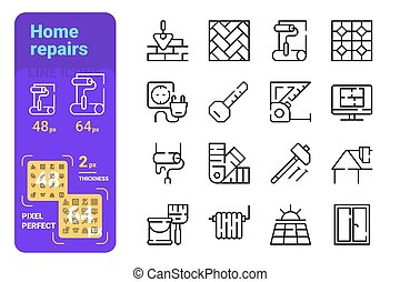 Home repairs icons set vector illustration. Collection of bricklaying, tile laying, wall painting, heating, window and solar panels installation symbols flat style concept