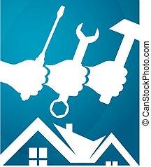 Repair of home design business, vector