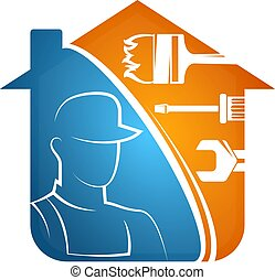 Home repairs with tools and repairman silhouette