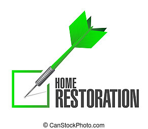 Home Restoration Check Dart Sign Illustration