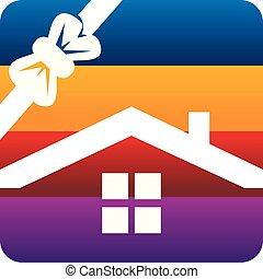 Home Ribbon Logo Design Template Vector