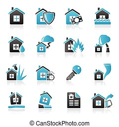 Home risk and insurance icons
