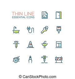 Home, Road Repair - Thin Line Icons Set