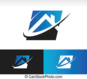 Home Roof Icon - House icon with roof and swoosh graphic...