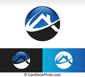 House circle icon with roof and swoosh graphic element